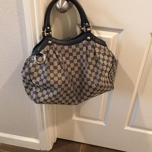 Authentic Gucci Sukey GG Navy Canvas Shoulder Bag